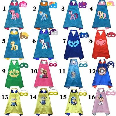 Superhero Cape (1 cape+1 mask) for kids birthday party favors and ideas/
