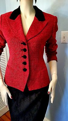 VTG 1980's CHRISTIAN DIOR RED & BLACK COAT JACKET SIZE 4