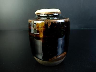 F306: Japanese Old Kiyomizu-ware Seto glaze TEA CADDY Chaire Container