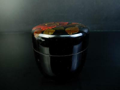 F301:Japanese Wooden Wakasa lacquer ware Flower pattern TEA CADDY Container