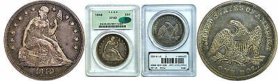 1849 Seated Liberty Dollar PCGS XF-40 CAC