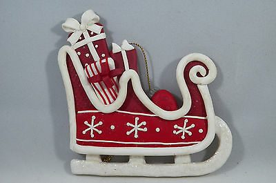 Clay dough Sleigh with Presents Christmas Tree Ornament new holiday
