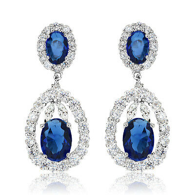 De Lelu Sterling Silver Oval Simulated Blue Sapphire CZ Dangle Earrings 4.23 Ct