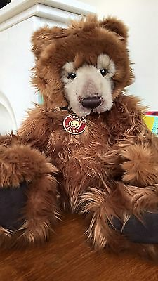 Kojak Charlie Bear With Tags /grizzly. Stunning Bear Perfect Condition