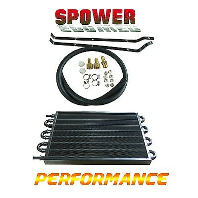 Black 8 ROW Transmission Oil Cooler Radiator Converter Manual To Automatic NEW