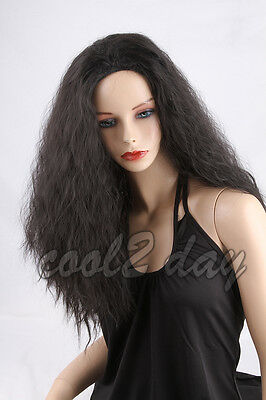 #1B Natural Black Women's Long Wavy Culry Synthetic Cosplay Ladies Full Wigs+Cap