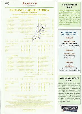 Signed MCC scorecard by Graeme Smith for Lord's Test England v South Africa 2012