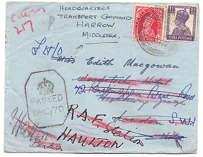 1089. India cover to England censored