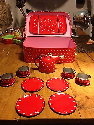 Retro Red Spotty Tea Set With Tray & Case
