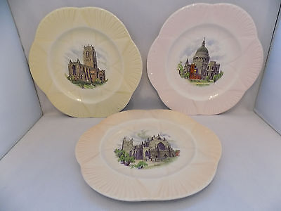 Shelley Cathedrals Of England  Series Dainty Shape Set Of 3 Decorative Plate
