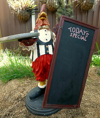 """Restaurant Greeting Dressed Unique """"rooster"""" Statue Specials Board With Tray"""