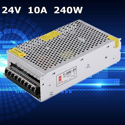 DC 24V 10A Power Supply for LED Strip Universal Regulated Switching 240W