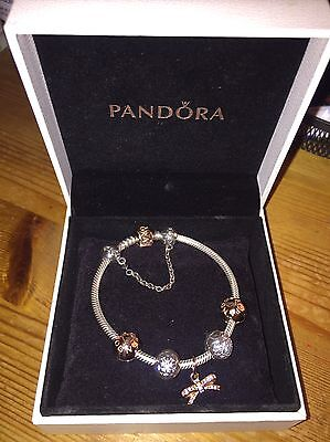 PANDORA ROSE GOLD 17cm BRACELET WITH CLIPS, BOW CHARM, AND SAFETY CHAIN GENUINE