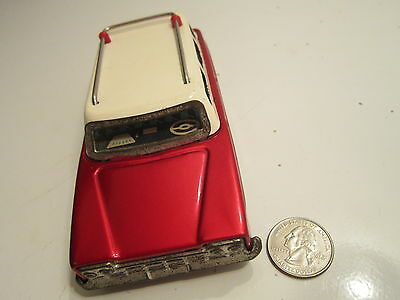 Vintage Car Tin Toy Friction China Mf Ms Me  Original Label Still There Works