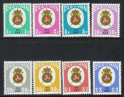Isle Of Man 1982 Postage Due Set Of 8 Cat £6+