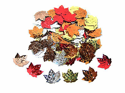 Mixed Maple Leaf Sequins | Choice of Pack Sizes | High Quality Embossed Design