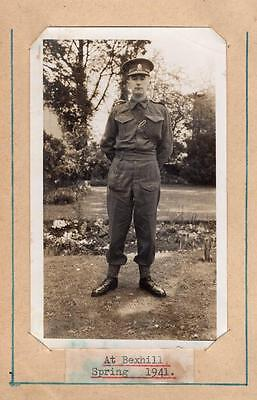 WW2 Unknown Soldier at 1941 Bexhill Real Photograph in Postcard Military Army