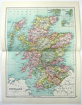 Original 1909 Map of Scotland by John Bartholomew