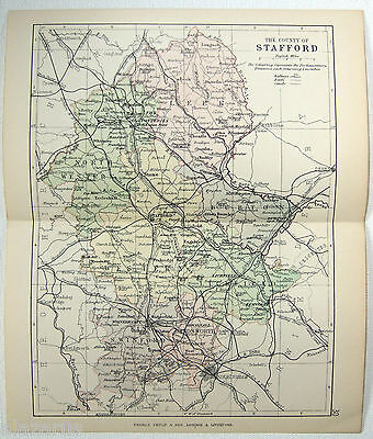 Original 1891 Map of The County of Stafford, England by G. Philip & Son