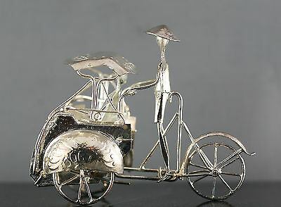 Handmade Vintage Chinese Silver Plated Tricycle Driver Sculpture Gift Boxed