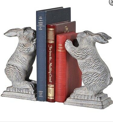 Heavy Cast Iron Metal RABBIT HARE Bookends Office Study Bookcase Book Ends Grey