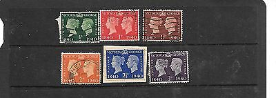1840-1940 Stamp Centenary - set of 6 used on paper