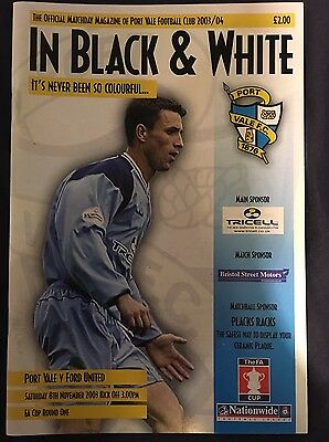 Port Vale Vs Ford United (now Redbridge) Programme. FA Cup First Round, 08.11.03