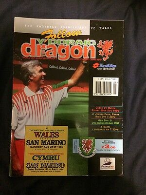 Wales Vs San Marino Programme. 1998 World Cup Qualifier 31.08.1996