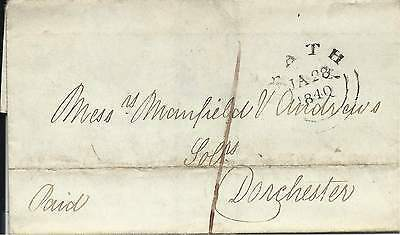 GB 1840 (Jan) 1d Paid Wrapper from Bath to Dorchester