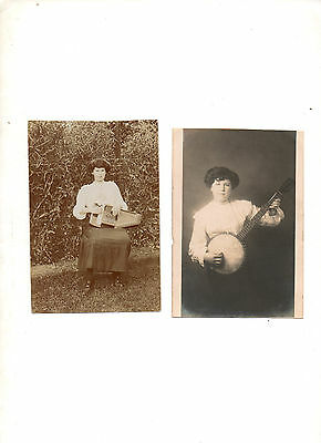1900. 2 X Postcards. Ladies, Musical Intruments. Unposted. Banjo & Piano Zither