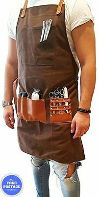 Professional Barber Apron Barbers Hair Hand Made Waxed Canvas Chocolate Brown