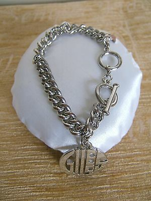 *guess* Silver  Bracelet With Guess Dropper Adjustable Strap - New In Quilt Bag