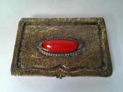 Striking vintage brass calling / business card case with red cabochon = prop