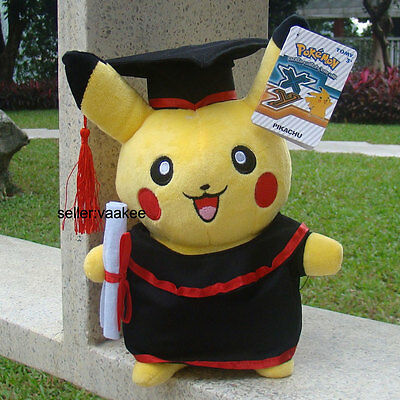 "Pokemon Plush Toy Pikachu With Dr. Suit 10.5"" Graduation Clothes Soft Doll TOMY"