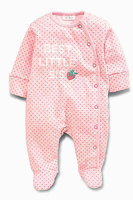 ВNWT NEXT • Embroidered Pink Sister Strawberry Sleepsuit • 100% cotton • 3-6 Mon