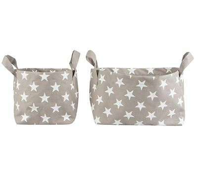 Two Collapsible Storage Tubs - Grey With White Stars - Grey Storage Tubs