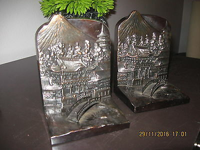 """Vintage """"Made in Occupied Japan"""" Iron Bookends ~ Mt.Fuji"""