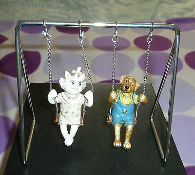 Beautiful  Cat And Doog   On Swing  ,  Genuine  Swarovski Crystals, Boxed