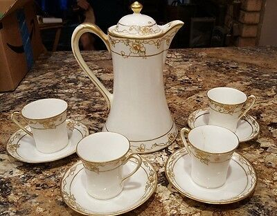 RARE  Antique Nippon Chocolate / Coffee, 10 Piece Set  Hard to Find Pattern