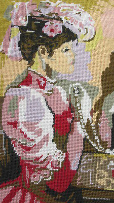 Beautiful Completed Vintage Tapestry. Victorian Lady .