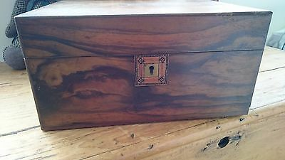 Vintage wooden Box Sewing Letters 1900's Patina Cartouche Marquetry
