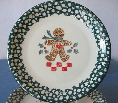 2 Tienshan Gingerbread Christmas Dinner Plates Green Sponge Paint Folk Art