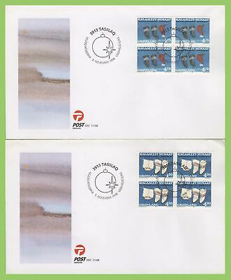 Greenland 1998 Christmas blocks set on two first Day Covers