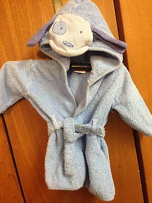 Carters Baby Boys Terry Bath Robe Blue Puppy Dog Hood 0-9 Months 21 lbs