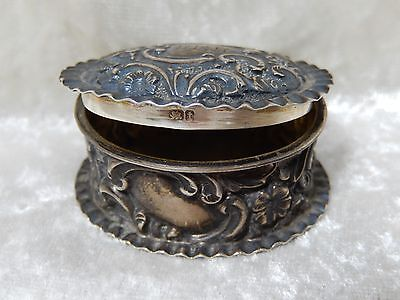 """Antique Sterling Silver Snuff or Pill Box Marked 2"""" x 1 1/2"""""""