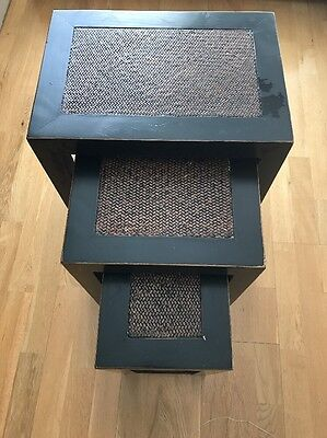 Nest Of 3 Stack Tables Solid Wood Coffee Side End Table Set