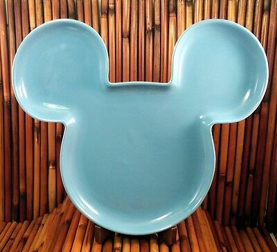 Disney Mickey Mouse Shaped Plate, Light Blue, Made in Thailand