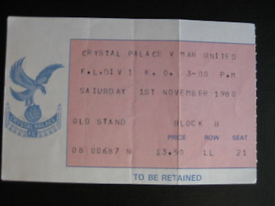 CRYSTAL PALACE v MANCHESTER UNITED  01/11/1980 USED TICKET
