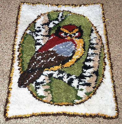 Handmade Vtg Latch Hook FOREST OWL Bird Animal Wall Hanging Rug Art
