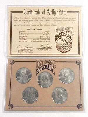 Set of (5) Five Dollar Fathers of Baseball Coins Issued by Hutt River Province